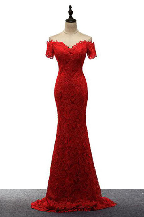 Red Off the Shoulder Mermaid Lace Prom Dresses, Sweep Train Long Evening Dresses