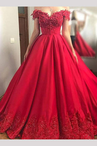 016d6c0fbb1b Red Off the Shoulder Satin Prom Dress with Lace Appliques