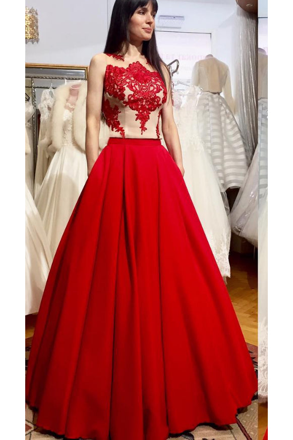 Puffy Floor Length Red Prom Dress with Appliques, Long Satin Evening Dress