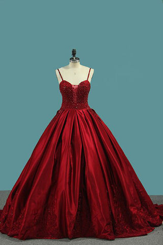 Red Spaghetti Strap Satin Puffy Prom Dress with Crystals, Beading Gorgeous Formal Dress N1558