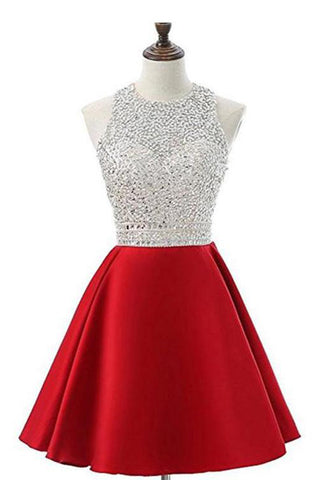 Red Jewel Satin Short Prom Dress with Beads, A Line Sparkly Homecoming Dresses