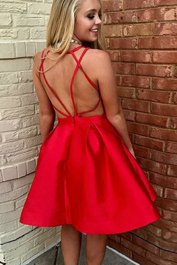 Red A-Line V-Neck Open Back Knee Length Satin Homecoming Dress, Short Prom Gown