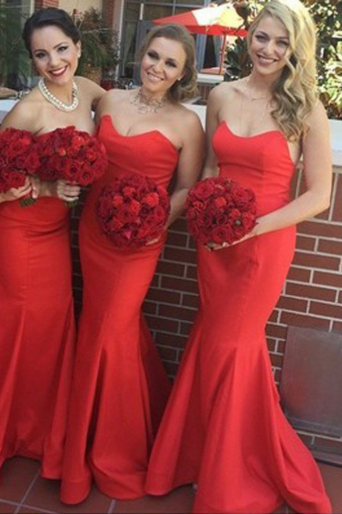 Strapless Stunning Red Sweetheart Sexy Mermaid Long Wedding Guest Bridesmaid Dress,N512