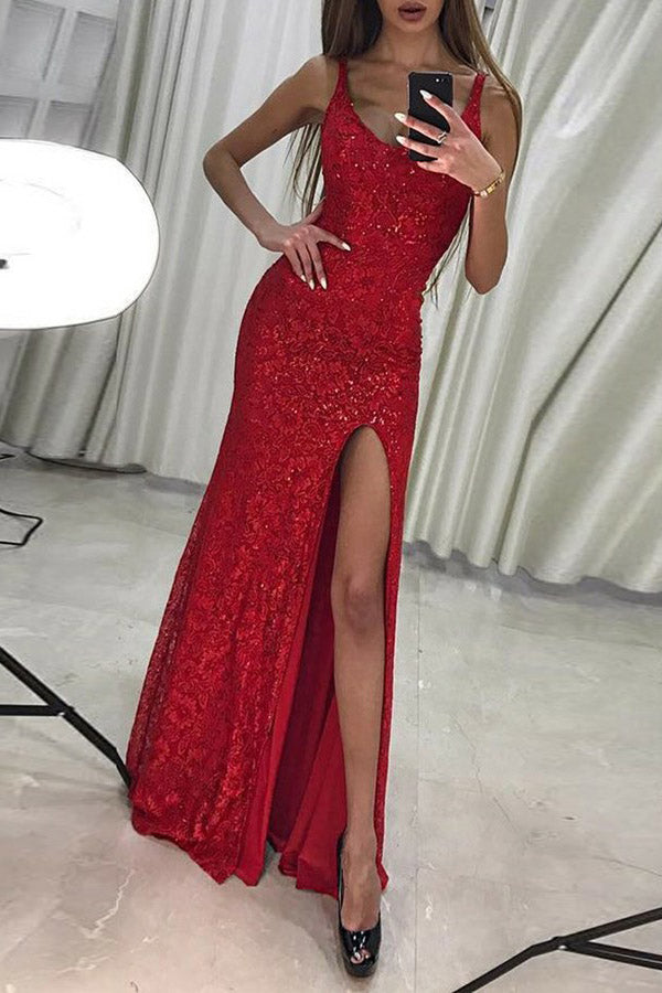 Floor Length Mermaid Scoop Red Sequined Prom Dress with Slit, Sexy Sequined Formal Dress