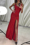 Floor Length Mermaid Scoop Red Sequined Prom Dress with Slit, Sexy Sequined Formal Dress N972