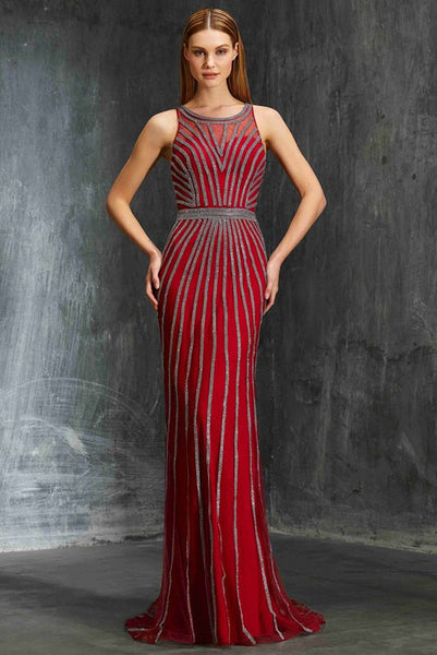 Red Scoop Sleeveless Sheath Tulle Prom Dress,Long Formal Gown,N552