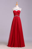 Red Floor Length Chiffon Prom Dress with Crystals, A Line Pleated Evening Dress