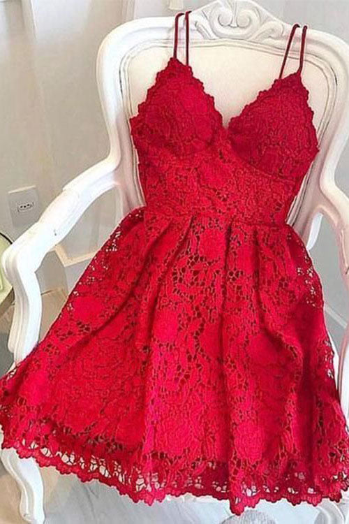 Red Spaghetti Straps Lace Homecoming Gown, Mini Lace Dress, A Line Party Dress N2184
