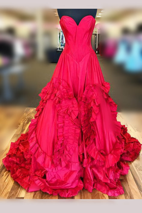 Red Princess Strapless Long Prom Dress,Court Train Sweetheart Formal Gown,N503