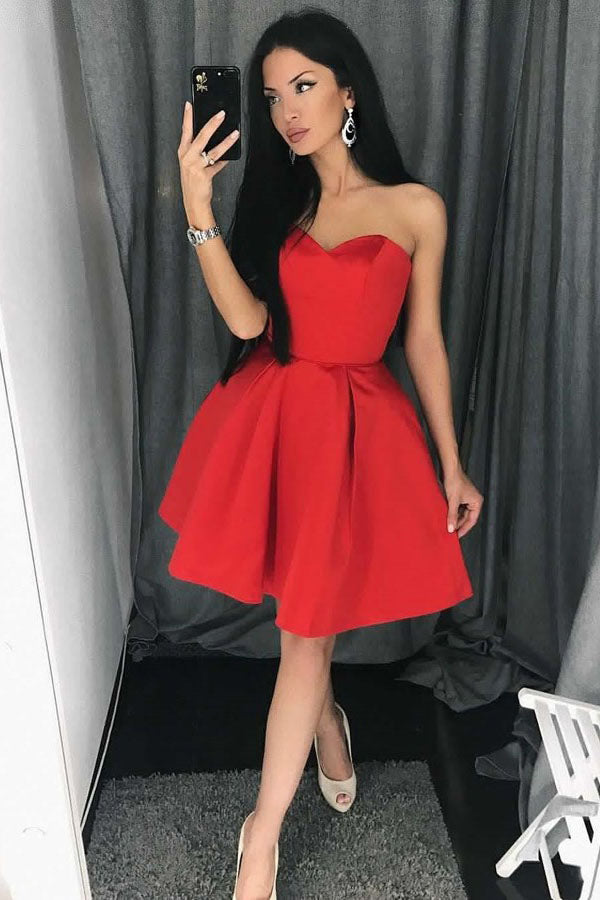 A Line Red Sweetheart Homecoming Dress, Simple Strapless Junior Prom Dresses N988