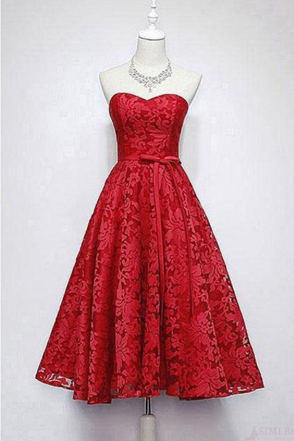 A Line Sweetheart Ankle Length Lace Homecoming Dress, Cheap Lace Prom Dresses