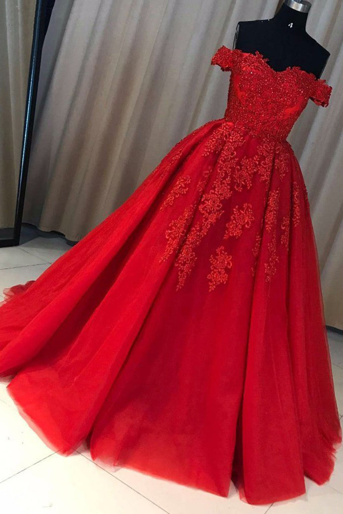 A-line Red Off the Shoulder Prom Dress with Lace Appliques,Long Tulle Evening Gown,N728