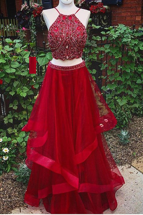 Red Two Piece Prom Dresses with Beading, Charming Long Homecoming Dress N1425