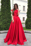 Two Pieces Red Short Sleeve Satin Prom Dresses with Lace Top,Cheap Prom Dresses,N651