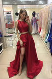 A-line Red Sleeveless Two Piece Long Satin Prom Dress Evening Dress For Teens,N506