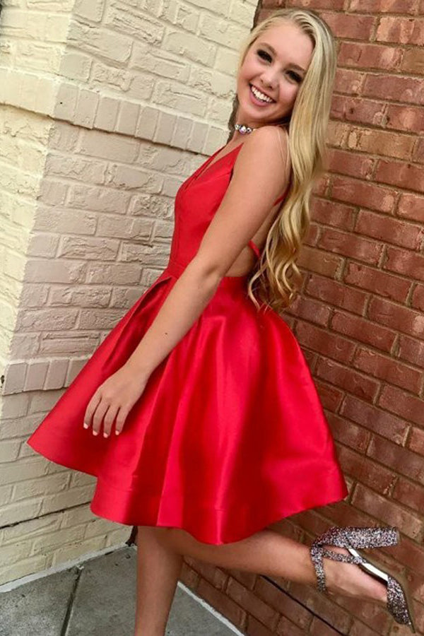Red A-Line V-Neck Open Back Knee Length Satin Homecoming Dress, Short Prom Gown N950