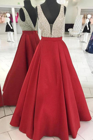 Red V Neck Sleeveless Beading Prom Dress, A Line Satin Sparkly Long Party Dresses N1731