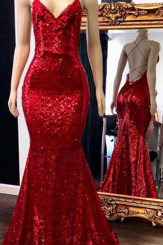 e764a1e1eb35 Sparkly Sequins Prom Dress Mermaid with Spaghetti Straps, Long Party Dresses  N1364 – Simibridaldress