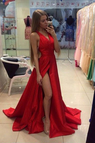 16538e60d9 V-Neck Sleeveless Red Prom Gown with Side Slit,Long Split Red Dress –  Simibridaldress