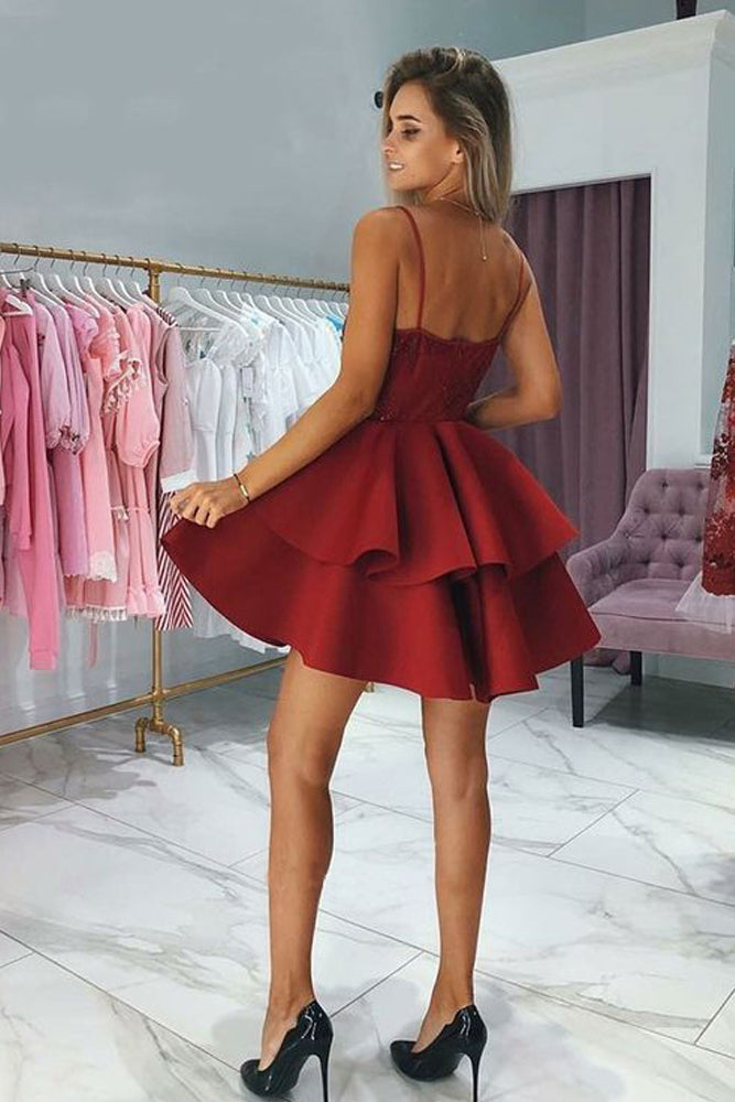Burgundy Spaghetti Strap Two Layers Satin Short Prom Dress with Appliques N1082