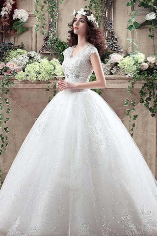 Ball Gown Cap Sleeve V Neck Open Back Lace Appliques Sequins Tulle Wedding Dress N1231