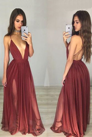 Sexy Deep V Neck Prom Dress,Spaghetti Straps Prom Dresses,A-Line Chiffon Prom Dress,Open Back Evening Dress N53