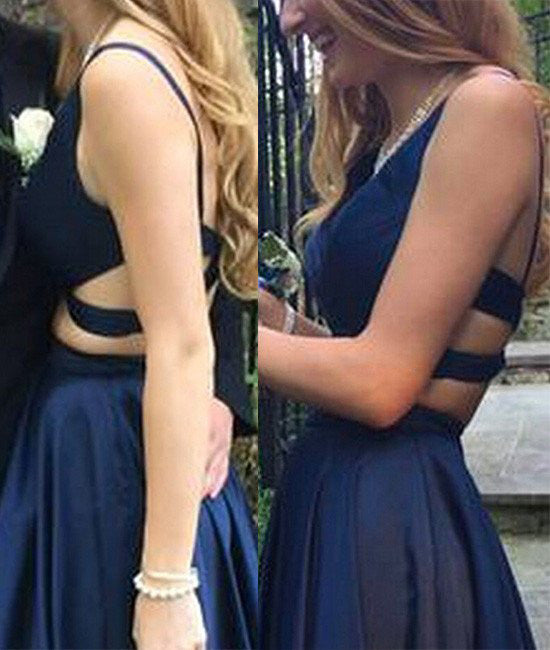 Dark Blue Two Pieces Prom Dress,V Neck Evening Dress,Open Back Party Dress,Formal Dresses N66