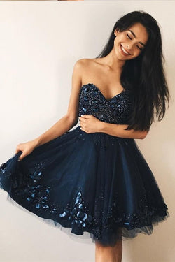 Navy Blue Sweetheart Beading Prom Dress with Appliques, Knee Length Tulle Homecoming Dress N1921