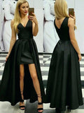 Unique Black High Low V Neck Prom Dress, Cheap Simple Sleeveless Long Formal Dresses N1683