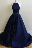 Sexy Prom Dresses,Navy Blue Prom Dress,Halter Long Prom Dresses,Party Gown,Graduation Dresses,Formal Dress For Teens,Simple Halter Prom dress N62