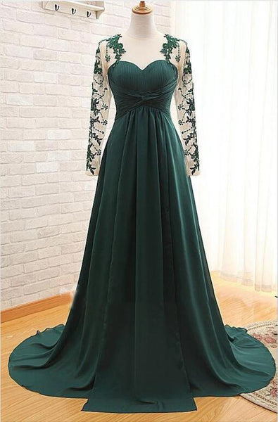Dark Green Long Sleeves Long Evening Dress with Appliques, Long Prom Dress with Sleeves N1929