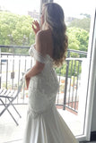Gorgeous Mermaid Off the Shoulder Wedding Dress with Lace Appliques Pearls N2497