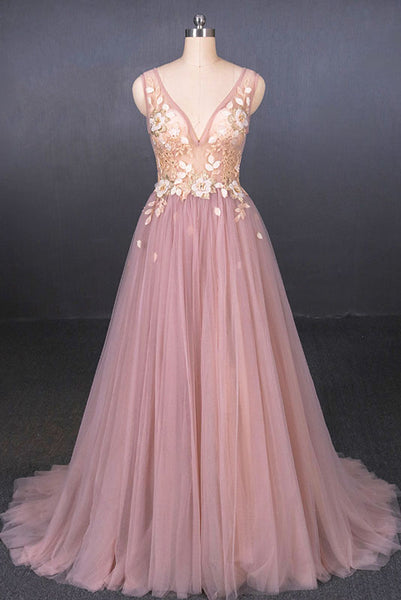 Pink V Neck Sleeveless Tulle Prom Dress with Appliques, A Line Tulle Evening Dress N2338