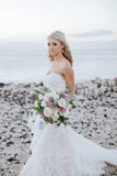 Rustic Chic Sweetheart French Lace Wedding Gown Sweep Train Wedding Dress N2557
