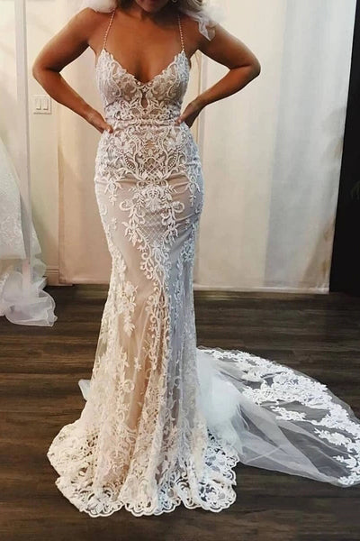 Spaghetti Strap Mermaid Wedding Dresses Lace Applique Bridal Dress with Long Train N2067