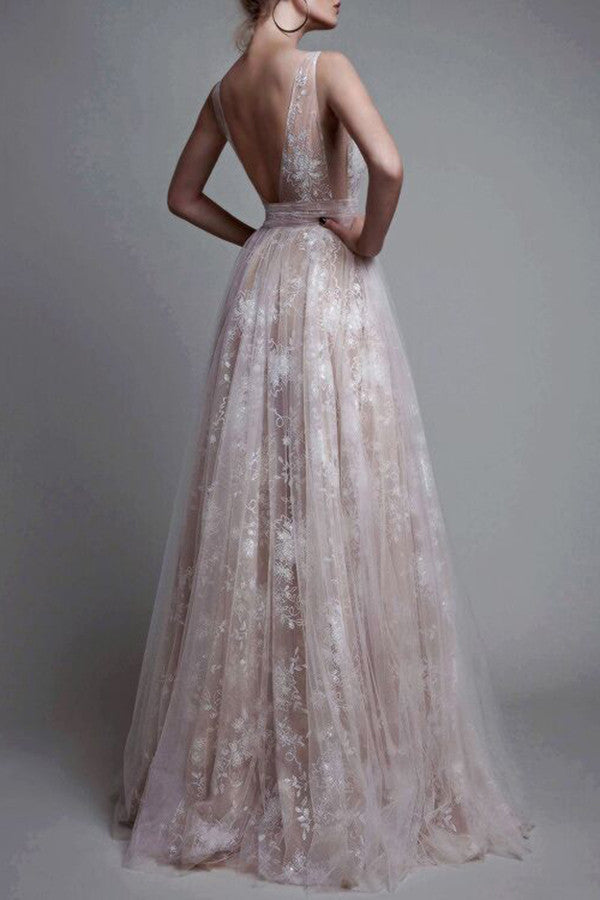 A-Line Deep V-Neck Sleeveless Tulle Lace Appliques Long Prom Dress N39
