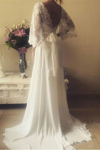 Romantic Boho V Neck Lace Appliques Chiffon Long Beach Wedding Dress With SashN629