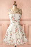 Ivory Round Neck Sleeveless Homecoming Dress with Lace, Short Lace Prom Dress