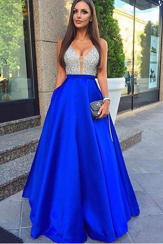 Glamorous Deep V-Neck Sleeveless Floor-length Royal Blue Prom Dress with Beading,N566