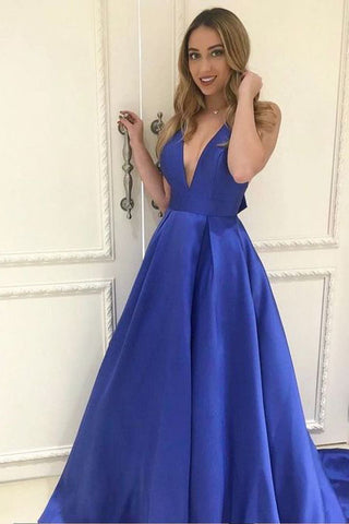 ed22eea0cdc A-line Royal Blue Deep V-neck Sleeveless Long Prom Gown with Bowknot –  Simibridaldress