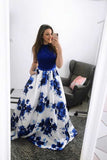 Royal Blue Sleeveless Long Prom Dress, A Line Floral Long Satin Evening Dresses N1144