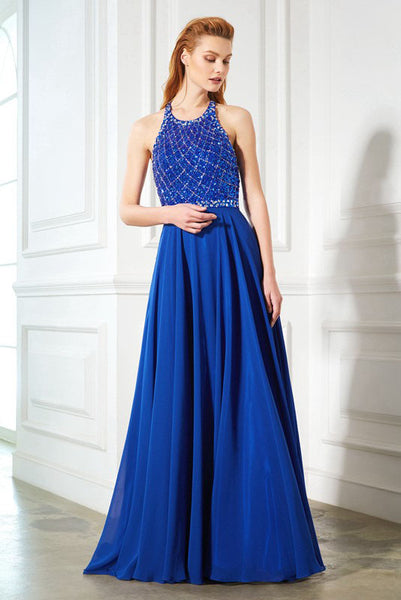 A-line Royal Blue Halter Open Back Sleeveless Beading Chiffon Long Prom Gown,N553