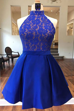 Royal Blue High Neck Satin Short Homecoming Dress with Lace Top, Cute Prom Dress