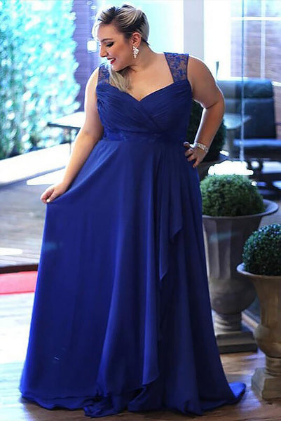 Cheap Royal Blue Plus Size Sleeveless Floor-length Open Back Chiffon Prom Dresses,N529