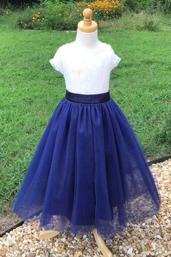 Blue Tulle Long Flower Girl Dress with Lace Top, Cute Flower Girl Dress with Short Sleeve F052