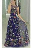 Popular Floor Length A-line Sleeveless Prom Dress with Embroidery Flowers N852