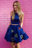 Royal Blue Two Piece Satin Short Prom Dress with Pockets, Short Cocktail Dresses N993