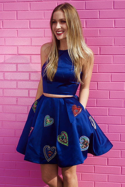 Royal Blue Two Piece Satin Short Prom Dress with Pockets, Short Cocktail Dresses