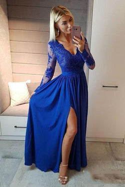 Royal Blue V Neck Long Sleeve Prom Dress, Floor Length Split Evening Dress with Lace N1492