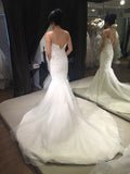 Mermaid Sweetheart Strapless Sparkly Tulle Bridal Dress,Sweep Train Beach Wedding Dresses,N468